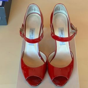 Jimmy Choo patent red peep toe Mary Jane size 40